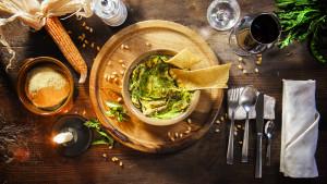 Primi dell'Agriturismo Bon Tajer - Crosticcio con germogli di silene e polenta